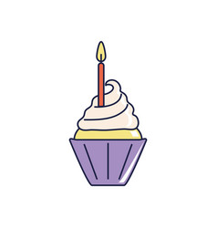 happy birthday sweet cupcake with burning candle vector image