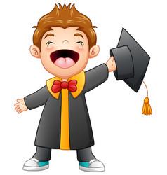 happy graduation boy cartoon vector image