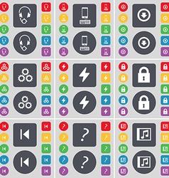 Headphones Smartphone Arrow down Gear Flash Lock vector image
