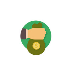 human hand gives money bag to another person vector image