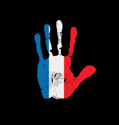 human handprint in colors french flag vector image
