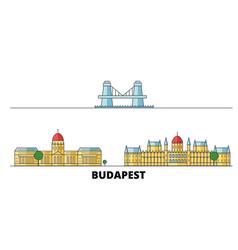 Hungary budapest flat landmarks vector