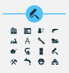 Industry icons set with concrete mixer chuck vector