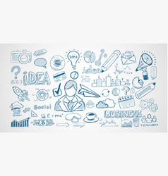 Infograph set of hand drawn sketches and a lot of vector