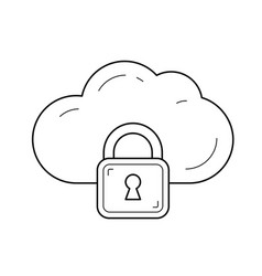 internet cloud data protection line icon vector image