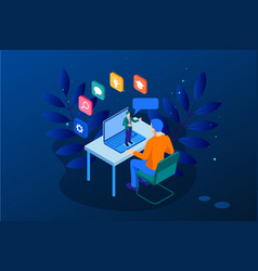 Isometric web banner online training or education vector