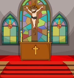 Jesus christ symbol in the church vector