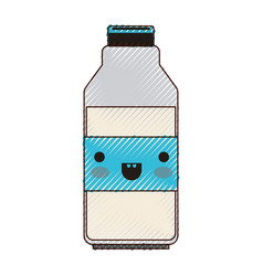Kawaii milk bottle in colored crayon silhouette vector