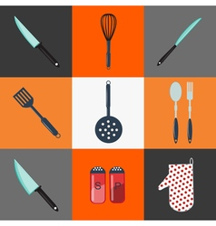 Kitchen utensils household objects icons set vector