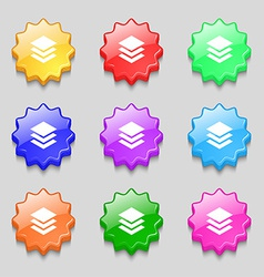 Layers icon sign symbol on nine wavy colourful vector