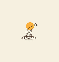 Line animal giraffe with sunset logo symbol icon vector