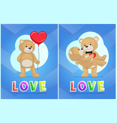 Love with toy bear color cards vector