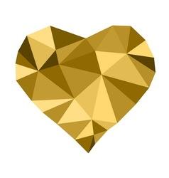 Low poly golden heart vector