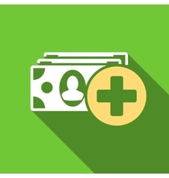 Medical Expences Flat Long Shadow Square Icon vector image