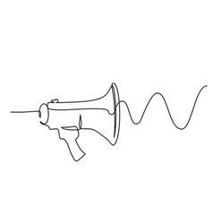 megaphone loudspeaker with sound wave one line vector image