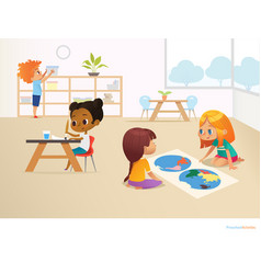 multiracial children in montessori classroom vector image