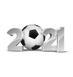 new year numbers 2021 with soccer ball isolated vector image