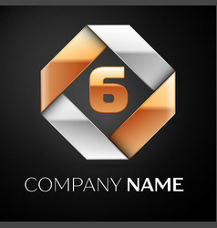 Number six logo symbol in the colorful rhombus on vector