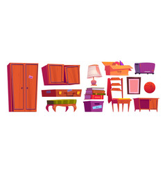 Old furniture archive items on house attic vector