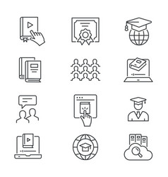 online education line icons set black vector image