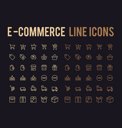 Online shopping line icon - app and mobile web vector