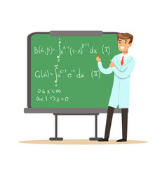 Physicist stands next to blackboard vector