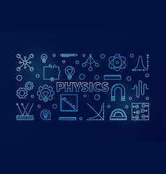 physics blue horizontal banner science vector image