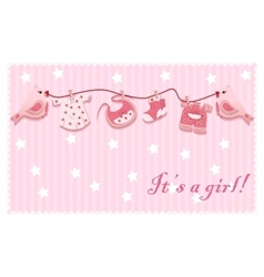 Pink girl birds laundry rope bacloth card vector