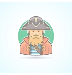 Pirate buccaneer sea dog icon vector image