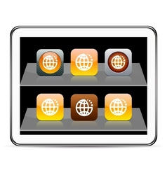 Planet orange app icons vector image