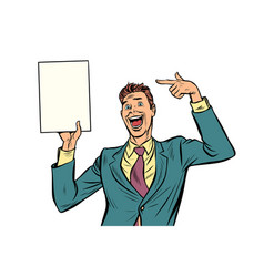 Pop art businessman points at copy space poster vector