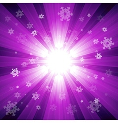 Purple color burst of light with snowflakes vector