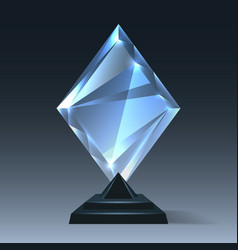 realistic crystal trophy on transparent vector image