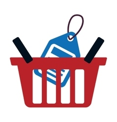 Red basket buy online blue price tag vector