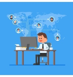Remote team working concept Work from home vector