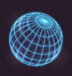 retro futuristic in style 80s laser neon mesh vector image