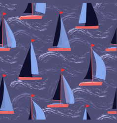 Sailboats on waves nautical repeat pattern vector