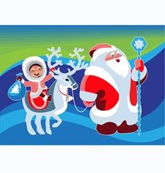 Santa klaus girl beer vector