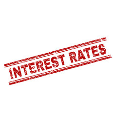 Scratched textured interest rates stamp seal vector