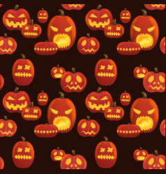 seamless halloween pattern with scary pumpkins vector image