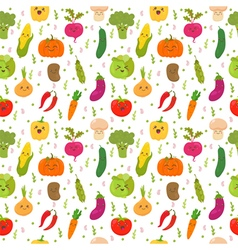 Seamless pattern with funny vegetables Cute vector