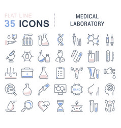 Set flat line icons medical laboratory vector