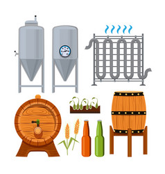 set icons of brew beer production vector image