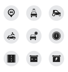 set of 9 editable car icons includes symbols such vector image