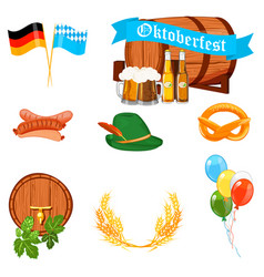 Set of flat design icons for oktoberfest isolated vector