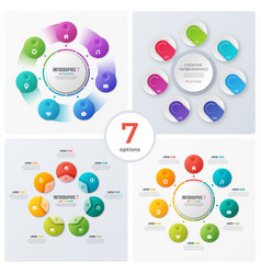 set of modern circle charts infographic designs vector image