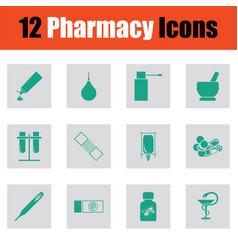 set of twelve pharmacy icons vector image