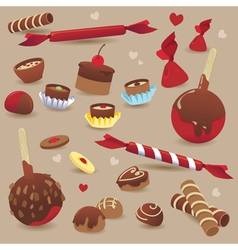 Set sweet chocolate candy vector