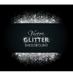 Shiny background with silver glitter frame and vector