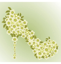 shoe decorated with white flowers vector image